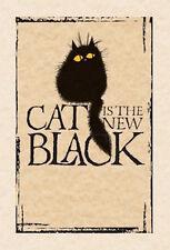 Mad antigua tarjeta de felicitación de Dama Gato: Gato es el nuevo Negro-Nuevo en violonchelo