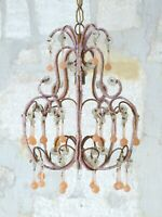 Antique Chandelier PINK Opaline Drops Beads Gouttes Macaroni 1920 RARE Murano