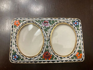 """RECTANGULAR MICRO MOSAIC DOUBLE PICTURE FRAME ITALY 4""""  """"WHITE"""""""