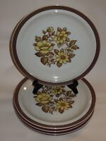 "5 Sierra Stoneware 10 1/4"" Dinner Plates Brown Yellow Floral Blossoms Japan"