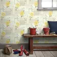 Arthouse Bella Yellow Wallpaper Birds Roses Text Envelope Flower Floral 630405