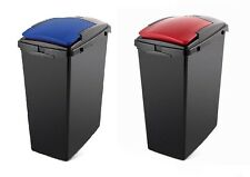 Recycling Hub 2 x Addis 40L Slim Recycling Bins with Blue and Red Lids