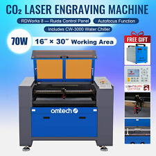 Omtech 30x16 70w Co2 Laser Engraver Cutter Ruida With Cw 3000 Water Chiller