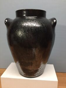 Antique Redware Vase with Black Glaze and Two Handles