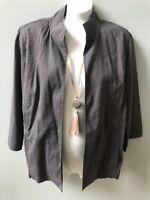 Eileen Fisher Linen Blend Open Front Blazer Womens Size M Gray Jacket Pockets