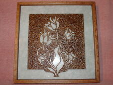 Handmade Art Sandblast wall Hanging Flowers  Gift Green Marble Oak frm