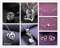 Heart Pendant 925 Sterling Silver Necklace Earring Bracelet Women Jewellery gift