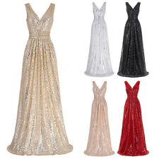 Sexy Long Maxi Sequins Bridesmaid Dress Evening Formal Party Cocktail Gown Prom