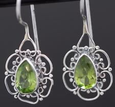 Handmade Sterling Silver .925 Oval Filigree Dangle Earrings w Teardrop Peridot.