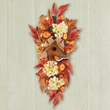 Lighted Apple and Floral Birdhouse Thanksgiving Swag Wall Door Decor