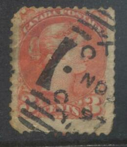 Canada 1870 3c red stamp used