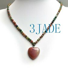 "16"" Natural Multi-color Moss Agate Heart Pendant Beads Necklace"
