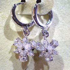 Clear Cubic Zirconia CZ Floral Design Huggie Earrings Girls Teens Juniors Adults