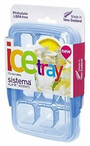 Sistema KLIP IT Accents Ice Cube Tray with Lid, 12 Cubes - Assorted Colours