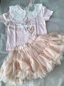River Island Mini Girls Aged 2-3 Years Pink Butterly Skirt Set BNWT