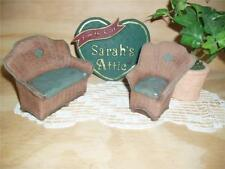 1994 Retired Sarah's Attic Collectible Couch and Chair Figurine 4358 4359