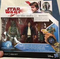 Disney Star Wars Han Solo and Boba Fett Figure Force Link Brand New and sealed