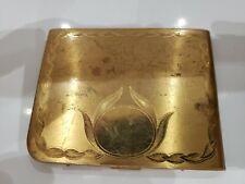 """Vintage Elgin American Cigarette Case - Gold Toned Floral Elegance, 4 x 3"""" / USA"""