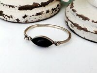 TAXCO Sterling Silver 925 Mexican Black Onyx Hinged Clamp Stack Bracelet Bangle