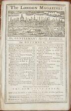 1762 LONDON MAGAZINE December + Appendix INOCULATION GRENADA CARRIAGE FLORIDA