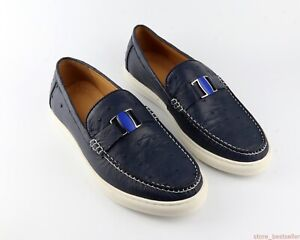 Dark Blue Shoes Genuine Ostrich Skin Leather Men's Sneakers Size US09 - EUR42