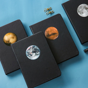 """""""The Planet"""" 1pc Hard Cover Black Papers Diary Notebook Journal Sketchbook Gift"""