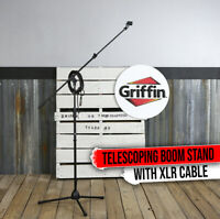 GRIFFIN Tripod Microphone Boom Stand Holder PACK XLR Cable Mic Clip Studio Stage