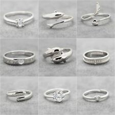 Women Men 925 Sterling Silver Plated Adjustable Rings Wedding Engagement Band UK
