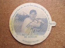 "1954 Dixie Ice Cream Lid Sid Gordon Pittsburgh Pirates ORIG WAX COATING 2 3/4"""