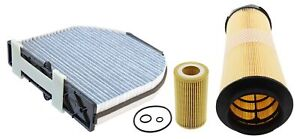 For Mercedes C-Class W204 C 220 CDI Carbon Cabin Air Oil Filter Service Kit