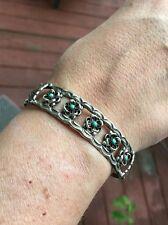 VINTAGE ZUNI Sterling, Flower Turquoise cuff bracelet, signed E + C Waseta