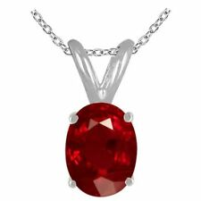 0.45Ct Oval Ruby Pendant in 14k White Gold
