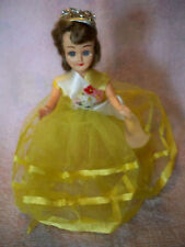 Vintage hard plastic doll Yellow tulle Gown, flowers maybe Mohair, read all