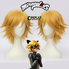 Miraculous Ladybug Black Cat Noir Yellow Blonde Anime Short Cosplay Wigs+Cap