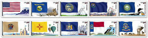 US SCOTT #4303-4312 44c FLAGS OF OUR NATION SET 4 - 1 STRIP PN10 MNH COIL STAMPS