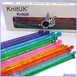 KnitUK 35cm Single Point Knitting Needle Set of 8 with Crystal-like Rhinestone