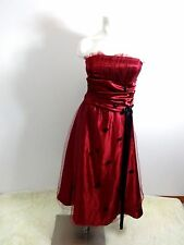 WOMENS BURGUNDY SATIN & NETTING FORMAL GOWN DRESS SIZE S