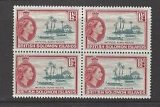 SOLOMON ISLANDS QEII 1956-63 SG84a 1½d. shade slate-green & brown-red block of 4