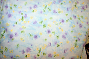 PURPLE AND YELLOW FLOWERS ON BLUE FROM QUILTING TREASURES - 100% COTTON FABRIC