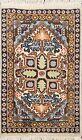 Vintage Geometric Ardebil Wool/ Silk Area Rug Hand-knotted Oriental Carpet 1'x2'