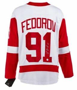 Sergei Fedorov Autographed Detroit Red Wings Fanatics Jersey (AJ COA and Holo)