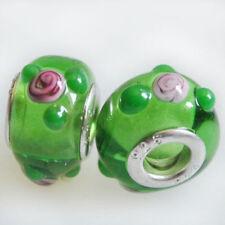Pulsera de cuentas de bisutería color principal verde cristal