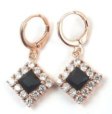Women's 18 Carat Rose Gold Plated Black Zircon Huggie Hoop Earrings Jewellery
