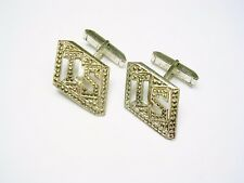 STERLING SILVER INITIAL CUFF LINKS LETTERS TS INLAID MARCASITE STONES CUFFLINKS
