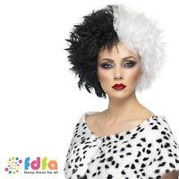 BLACK & WHITE EVIL CRUELLA DE VILLE WIG DALMATIANS - womens ladies fancy dress