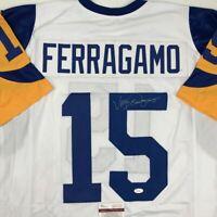 Autographed/Signed VINCE FERRAGAMO Los Angeles LA White Football Jersey JSA COA