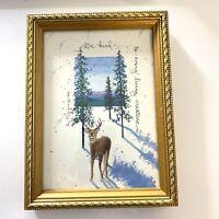 """Vintage D. Morgan """"Be Kind"""" Deer & Trees Print 8"""" X 6"""" Artist Signed 1992 Framed"""