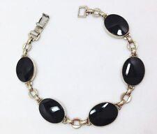 Vintage Jet Black Onyx Oval Link Tennis Bracelet 7 In Yellow Gold Sterling Si...