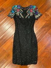 Vintage 70s Neiman Marcus embellished Silk Beaded Sequin Party Cocktail Dress PS