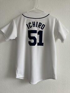 Majestic Ichiro Suzuki Seattle Mariners Youth L White Home Jersey Vintage